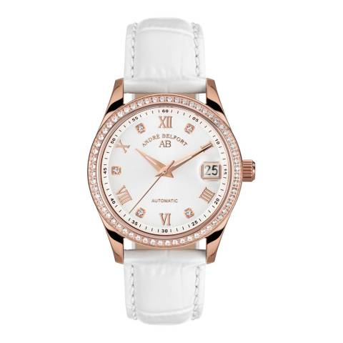 Andre Belfort Women's White Leather Stainless Steel Watch