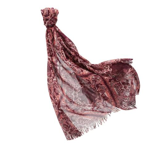 Pure Collection Burgundy Paisley Ultra Soft Printed Scarf