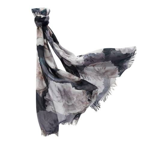 Pure Collection Black Floral Ultra Soft Printed Scarf