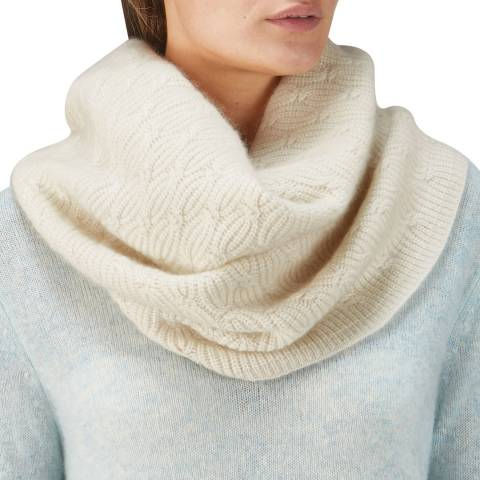 Pure Collection Natural White Organic Cashmere Cable Snood