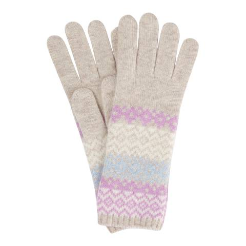 Pure Collection Pastel Fairisle Cashmere Lofty Fairisle Gloves