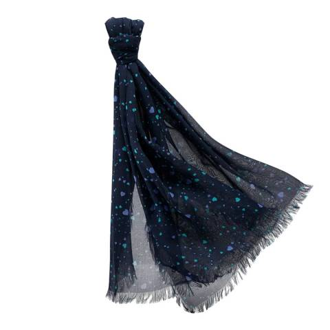 Pure Collection Navy Heart Ultra Soft Printed Scarf