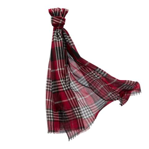 Pure Collection Red Tartan Ultra Soft Wool Scarf