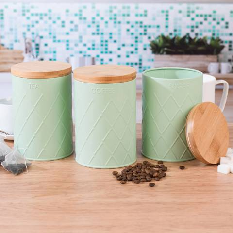 Salter 3 Piece Mint Green Embossed Round Kitchen Canisters