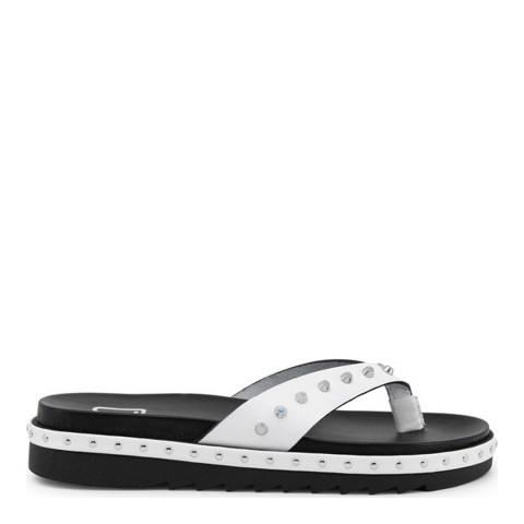Ana Lublin White & Black Janete Leather Flip Flops