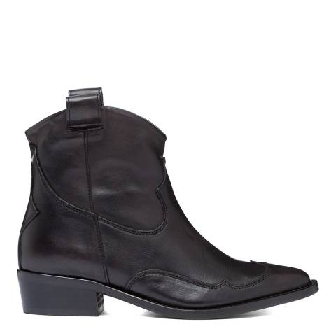 Oliver Sweeney Black Leather Capanario Distressed Western Ankle Boots
