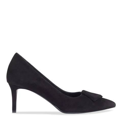 Jigsaw Black Kay Covered Buckle Court Shoes