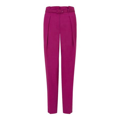 Jigsaw Pink Belted Tapered Trousers