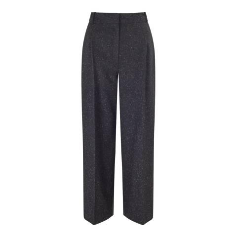 Jigsaw Black Donegal Pleat Crop Trousers