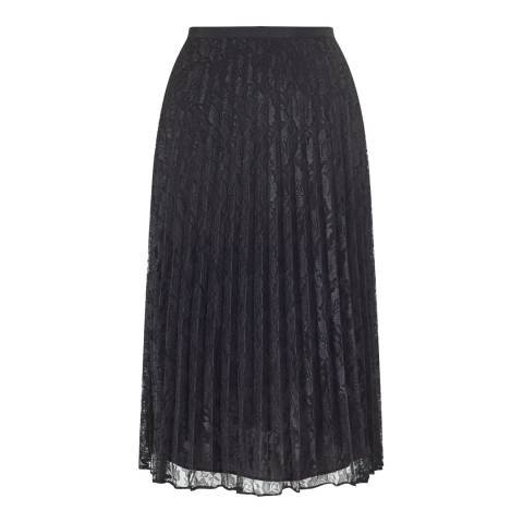 Jigsaw Black Pleated Lace Skirt