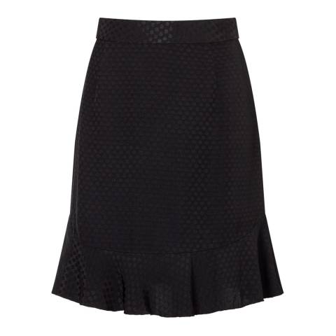 Jigsaw Black Spot Jacquard Frill Hem Skirt