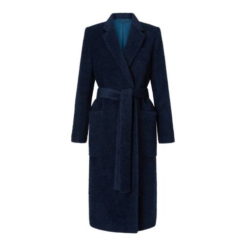 Jigsaw Navy Luxe Narrow Belted Coat