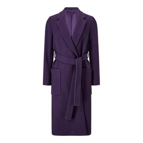 Jigsaw Purple Narrow Belted Coat
