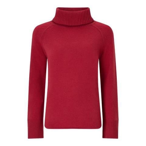 Jigsaw Red Raglan Merino Wool Jumper