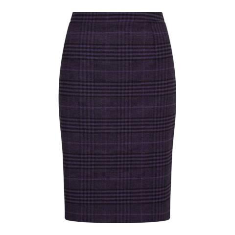 Jigsaw Plum Check Pencil Skirt