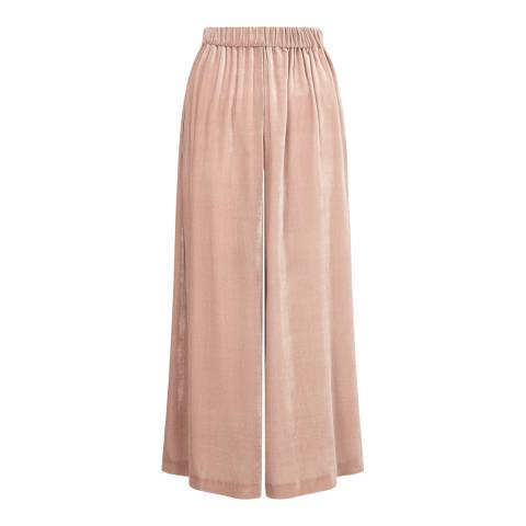 Jigsaw Pink Wide Flared Gathered Trousers