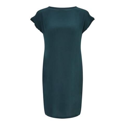 Jigsaw Teal Layered Silk Front Dress