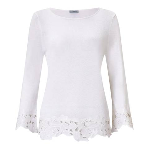 Jigsaw White Linen Lace Hem Jumper