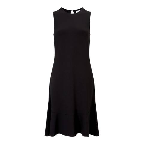 Jigsaw Black Ruffle Hem Jersey Dress
