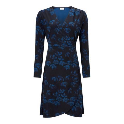 Jigsaw Navy Ginkgo Print Dress