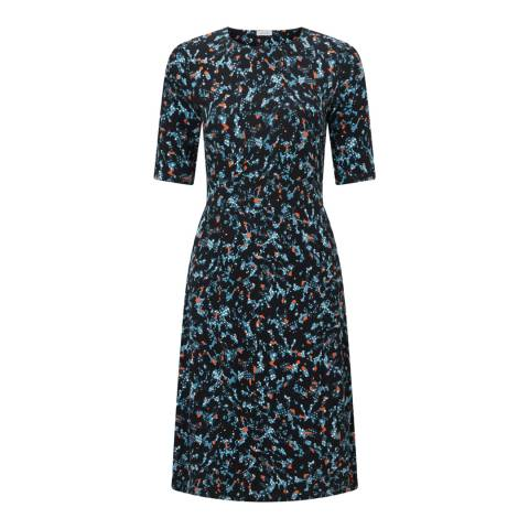 Jigsaw Navy Island Print Waisted Dress
