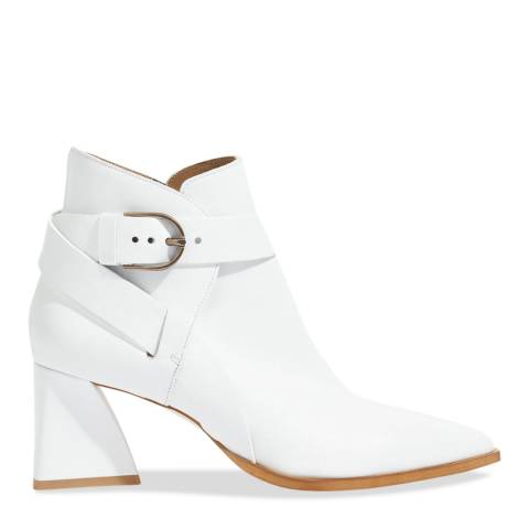 Jigsaw White Triangle Buckle Boots