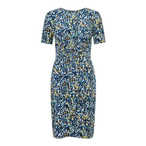 Jigsaw Blue Print Knot Waist Dress