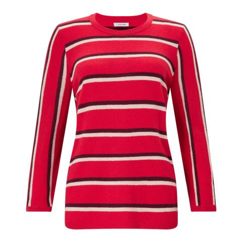 Jigsaw Red Stripe Crew Neck Jumper