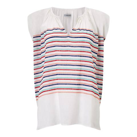 Jigsaw Multi Pool Stripe Linen Top