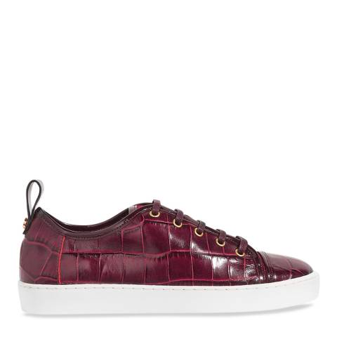 Jigsaw Red Asa Croc Leather Trainers