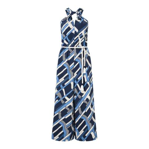 Jigsaw Navy Graphic Weave Jumpsuit