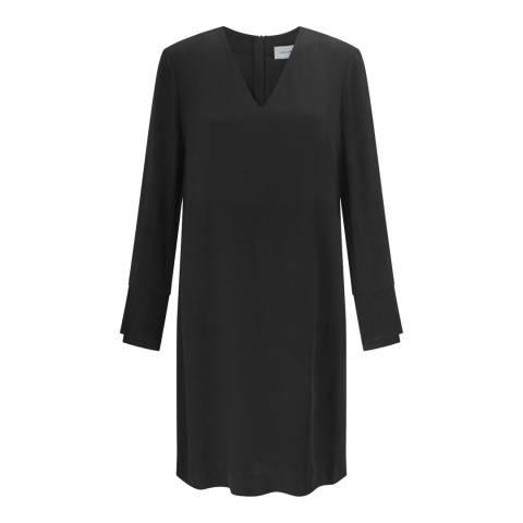 Jigsaw Black V- Neck Pleat Cuff Dress