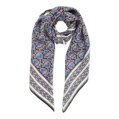 Jigsaw Purple Mayan Tile Print Silk Scarf
