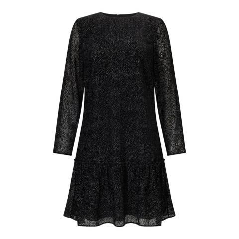 Jigsaw Black Velvet Flippy Hem Dress