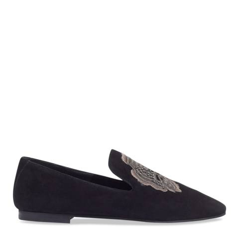 Jigsaw Black Suri Embroidered Slippers