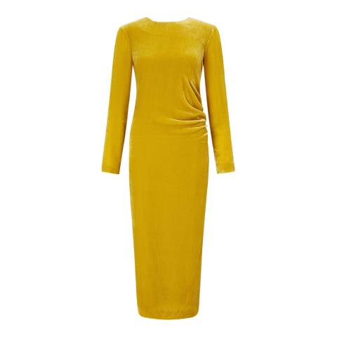 Jigsaw Yellow Velvet Ruched Maxi Dress