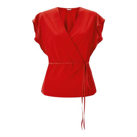 Jigsaw Red Wrap Tie Top