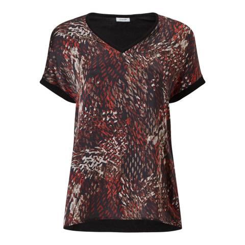 Jigsaw Leopard Print Silk Front T-Shirt