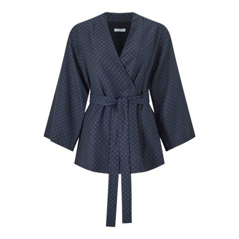 Jigsaw Purple Tie Jacquard Kimono Jacket