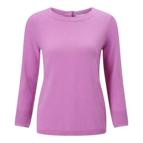 Jigsaw Mauve Button Back Silk Cuff Jumper