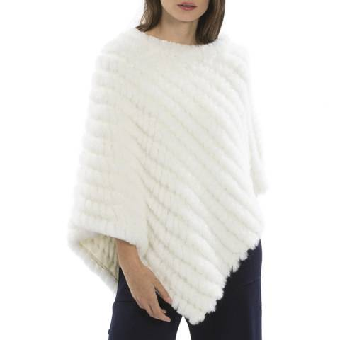 JayLey Collection White Cashmere Blend Faux Fur Poncho