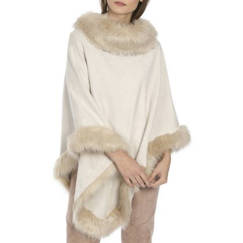JayLey Collection Beige Suede Faux Fur Poncho