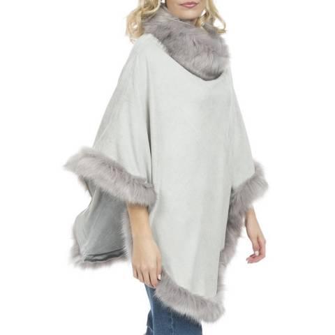 JayLey Collection Grey Suede Faux Fur Poncho