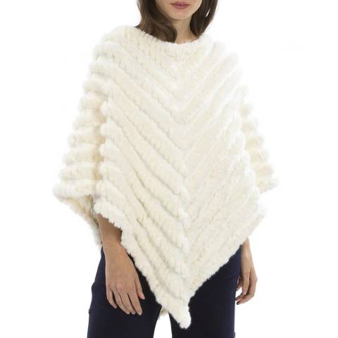 JayLey Collection Beige Cashmere Blend Faux Fur Knitted Poncho