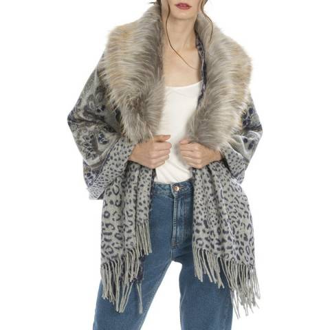 JayLey Collection Multi Animal Print Casmere Wrap With Faux Fur Collar