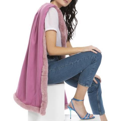JayLey Collection Pink Cashmere Blend Faux Fur Wrap