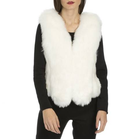 JayLey Collection White Luxry Faux Fur Gilet