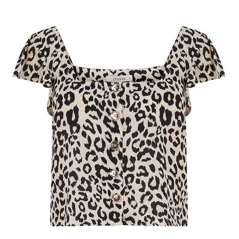 Oasis Animal Print Square Neck Top