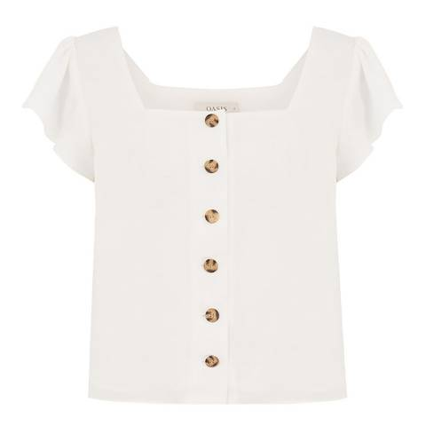 Oasis White Gypsy Button Through Top