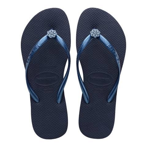 Havaianas Navy Blue Swarovski Poem Slim Flip Flop